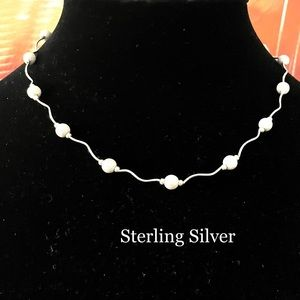 STERLING SILVER BEAD BALL WAVY LINK CHAIN NECKLACE